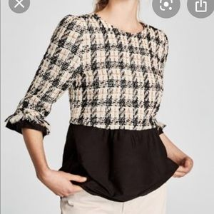 Zara Tweed Peplum Top Size M